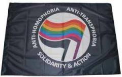 "Zur Fahne / Flagge (ca 150x100cm) ""Anti-Homophobia - Anti-Transphobia - Solidarity and Action"" für 13,00 € gehen."