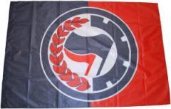 """Zur Fahne / Flagge (ca 150x100cm) """"Antifa Lorbeere (schwarz/rot)"""" für 13,00 € gehen."""