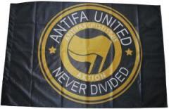 """Zur Fahne / Flagge (ca 150x100cm) """"Antifa united - never divided"""" für 13,00 € gehen."""
