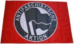 """Zur Fahne / Flagge (ca 150x100cm) """"Antifaschistische Aktion (1932, schwarz/schwarz)"""" für 13,00 € gehen."""