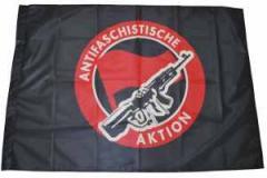 """Zur Fahne / Flagge (ca. 150x100cm) """"Antifaschistische Aktion (Gewehr)"""" für 13,00 € gehen."""