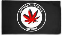 """Zur Fahne / Flagge (ca. 150x100cm) """"Antifaschistische Aktion (Hanfblatt)"""" für 16,00 € gehen."""