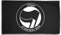 """Zur Fahne / Flagge (ca. 150x100cm) """"Antifaschistische Aktion - hebräisch (schwarz/schwarz)"""" für 16,00 € gehen."""