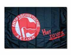 """Zur Fahne / Flagge (ca. 150x100cm) """"Antifaschistische Aktion her zu uns"""" für 13,00 € gehen."""
