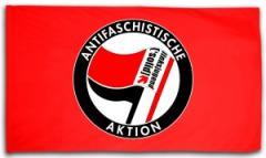 """Zur Fahne / Flagge (ca. 150x100cm) """"Antifaschistische Aktion - linksjugend [´solid]"""" für 18,52 € gehen."""