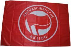 """Zur Fahne / Flagge (ca. 150x100cm) """"Antifaschistische Aktion (rot/rot)"""" für 12,67 € gehen."""