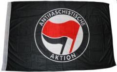 """Zur Fahne / Flagge (ca 150x100cm) """"Antifaschistische Aktion (schwarz, rot/schwarz)"""" für 13,00 € gehen."""