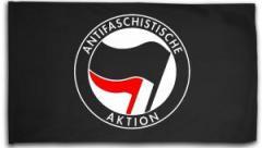 """Zur Fahne / Flagge (ca. 150x100cm) """"Antifaschistische Aktion (schwarz/rot)"""" für 13,00 € gehen."""