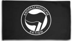 """Zur Fahne / Flagge (ca. 150x100cm) """"Antifaschistische Aktion (schwarz/schwarz)"""" für 12,67 € gehen."""