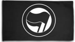"""Zur Fahne / Flagge (ca. 150x100cm) """"Antifaschistische Aktion (schwarz/schwarz) ohne Schrift"""" für 15,60 € gehen."""