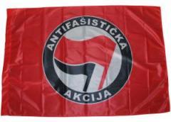 """Zur Fahne / Flagge (ca. 150x100cm) """"Antifasisticka  Akcija (rot/schwarz)"""" für 13,00 € gehen."""