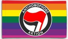 """Zur Fahne / Flagge (ca. 150x100cm) """"Antihomophobe Aktion (rot/schwarz)"""" für 16,00 € gehen."""