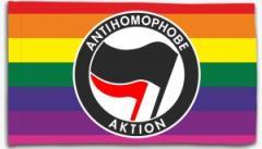 """Zur Fahne / Flagge (ca. 150x100cm) """"Antihomophobe Aktion (schwarz/rot)"""" für 16,00 € gehen."""