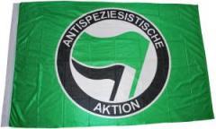 """Zur Fahne / Flagge (ca. 150x100cm) """"Antispeziesistische Aktion (grün, grün/schwarz)"""" für 12,67 € gehen."""