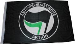 """Zur Fahne / Flagge (ca. 150x100cm) """"Antispeziesistische Aktion (schwarz, schwarz/grün)"""" für 12,67 € gehen."""