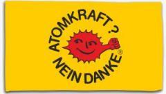 """Zur Fahne / Flagge (ca. 150x100cm) """"Atomkraft? Nein Danke - mit Faust"""" für 16,00 € gehen."""