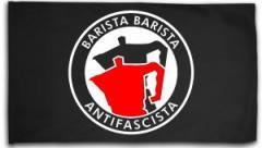 """Zur Fahne / Flagge (ca. 150x100cm) """"Barista Barista Antifascista (Moka)"""" für 15,60 € gehen."""