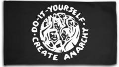 """Zur Fahne / Flagge (ca 150x100cm) """"do it yourself - create anarchy"""" für 16,00 € gehen."""