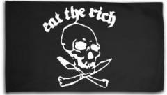"""Zur Fahne / Flagge (ca. 150x100cm) """"Eat the rich (Totenkopf)"""" für 15,60 € gehen."""