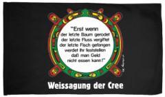 """Zur Fahne / Flagge (ca. 150x100cm) """"Erst wenn der letzte Baum gerodet...."""" für 16,00 € gehen."""
