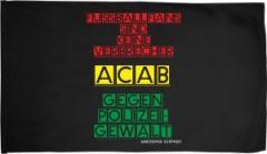 """Zur Fahne / Flagge (ca. 150x100cm) """"Fussballfans sind keine Verbrecher - ACAB - Gegen Polizeigewalt"""" für 19,00 € gehen."""