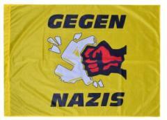 """Zur Fahne / Flagge (ca. 150x100cm) """"Gegen Nazis - gelb"""" für 13,00 € gehen."""