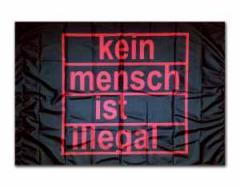 """Zur Fahne / Flagge (ca. 150x100cm) """"kein mensch ist illegal (schwarz)"""" für 12,67 € gehen."""