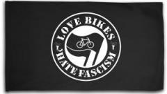 """Zur Fahne / Flagge (ca. 150x100cm) """"Love Bikes Hate Fascism"""" für 15,60 € gehen."""
