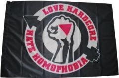 "Zur Fahne / Flagge (ca 150x100cm) ""Love Hardcore - Hate Homophobia"" für 13,00 € gehen."