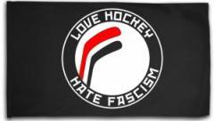"""Zur Fahne / Flagge (ca. 150x100cm) """"Love Hockey Hate Fascism"""" für 16,00 € gehen."""