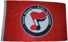 """Zur Fahne / Flagge (ca. 150x100cm) """"love music - hate fascism (Noten)"""" für 12,67 € gehen."""