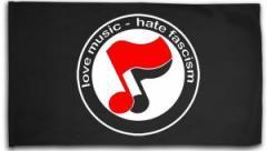 """Zur Fahne / Flagge (ca 150x100cm) """"love music - hate fascism (Noten)"""" für 16,00 € gehen."""