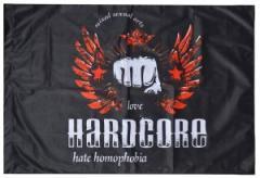 "Zur Fahne / Flagge (ca. 150x100cm) ""mixed sexual arts love Hardcore - hate homophobia"" für 13,00 € gehen."