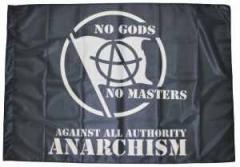 """Zur Fahne / Flagge (ca. 150x100cm) """"no gods no master - against all authority - ANARCHISM"""" für 13,00 € gehen."""