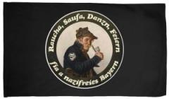 """Zur Fahne / Flagge (ca. 150x100cm) """"Raucha Saufa Danzn Feiern fia a nazifreies Bayern (Pfeifenraucher)"""" für 18,00 € gehen."""