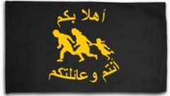 """Zur Fahne / Flagge (ca. 150x100cm) """"Refugees welcome (arabisch)"""" für 16,00 € gehen."""