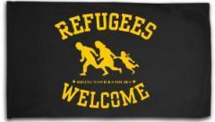 """Zur Fahne / Flagge (ca. 150x100cm) """"Refugees welcome (bring your families)"""" für 13,00 € gehen."""