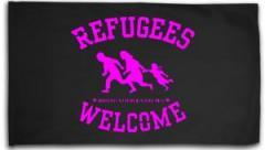 """Zur Fahne / Flagge (ca 150x100cm) """"Refugees welcome (pink)"""" für 16,00 € gehen."""