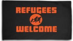 """Zur Fahne / Flagge (ca 150x100cm) """"Refugees welcome (Quer)"""" für 16,00 € gehen."""