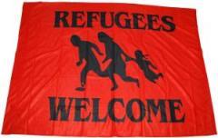 """Zur Fahne / Flagge (ca. 150x100cm) """"Refugees welcome (rot)"""" für 13,00 € gehen."""
