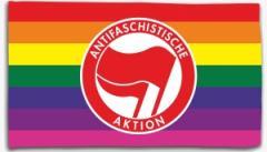 """Zur Fahne / Flagge (ca. 150x100cm) """"Regenbogen (mit Antifaschistische Aktion (rot/rot))"""" für 16,00 € gehen."""