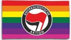 """Zur Fahne / Flagge (ca. 150x100cm) """"Regenbogen (mit Antifaschistische Aktion (rot/schwarz))"""" für 16,00 € gehen."""
