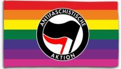 """Zur Fahne / Flagge (ca. 150x100cm) """"Regenbogen (mit Antifaschistische Aktion (schwarz/rot))"""" für 16,00 € gehen."""