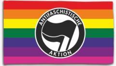 """Zur Fahne / Flagge (ca. 150x100cm) """"Regenbogen (mit Antifaschistische Aktion (schwarz/schwarz))"""" für 16,00 € gehen."""