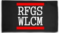 "Zur Fahne / Flagge (ca. 150x100cm) ""RFGS WLCM"" für 16,00 € gehen."
