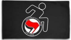 """Zur Fahne / Flagge (ca. 150x100cm) """"RollifahrerIn Antifaschistische Aktion (rot/schwarz)"""" für 15,60 € gehen."""