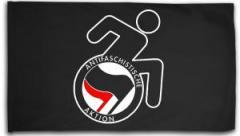 """Zur Fahne / Flagge (ca. 150x100cm) """"RollifahrerIn Antifaschistische Aktion (schwarz/rot)"""" für 15,60 € gehen."""