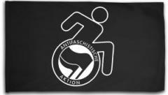 """Zur Fahne / Flagge (ca. 150x100cm) """"RollifahrerIn Antifaschistische Aktion (schwarz/schwarz)"""" für 15,60 € gehen."""
