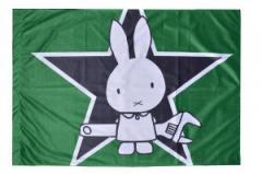 """Zur Fahne / Flagge (ca. 150x100cm) """"Sabotage Hase / Direct Action"""" für 13,00 € gehen."""