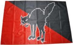 """Zur Fahne / Flagge (ca. 150x100cm) """"Schwarze Katze (schwarz/rot)"""" für 12,67 € gehen."""